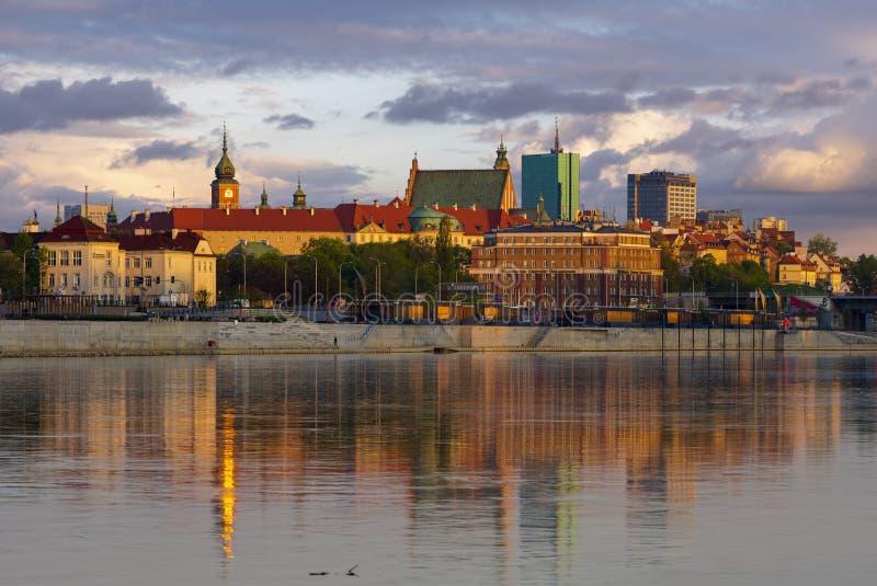 Panorama van de oude stad Warschau royalty-vrije stock foto's