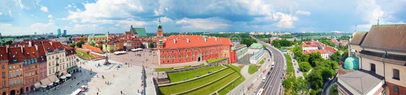 Panorama van de oude stad in Warshau, Polen royalty-vrije stock fotografie