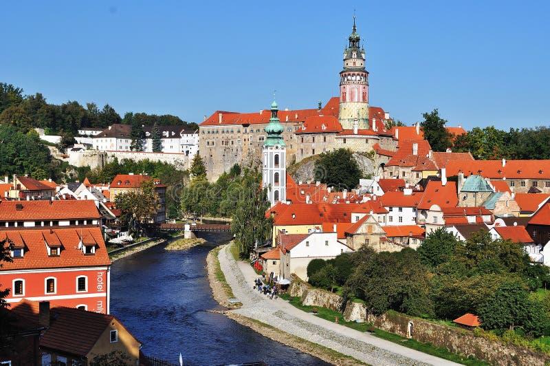 Panorama van de republiek van Cesky Krumlov.Czech stock foto's