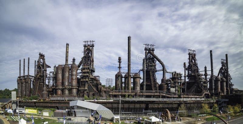 Panorama van de staalfabriek die zich nog in Bethlehem bevinden royalty-vrije stock foto's