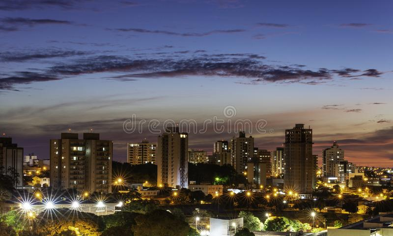 Panorama van de stad van Bauru Binnenland van de Staat van S?o Paulo brazili? royalty-vrije stock foto's