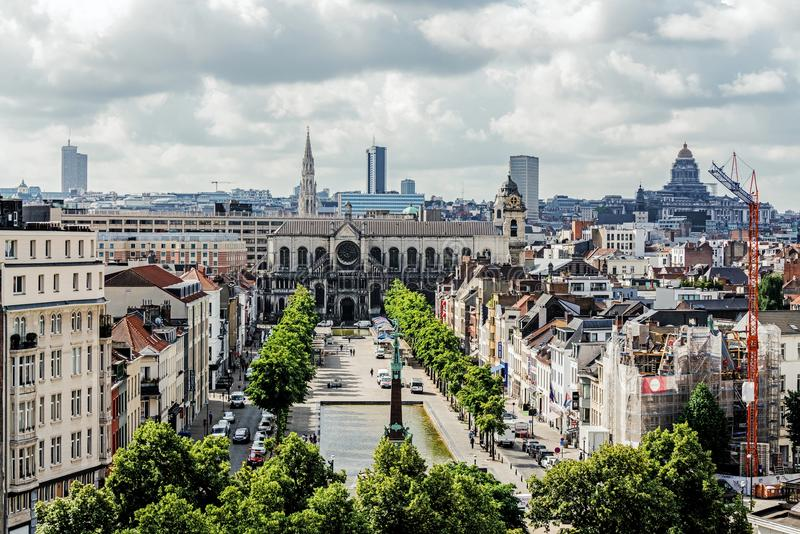 Panorama van de Stad van Brussel stock fotografie