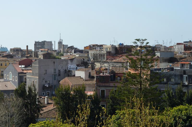 Panorama van de stad Catanië stock foto