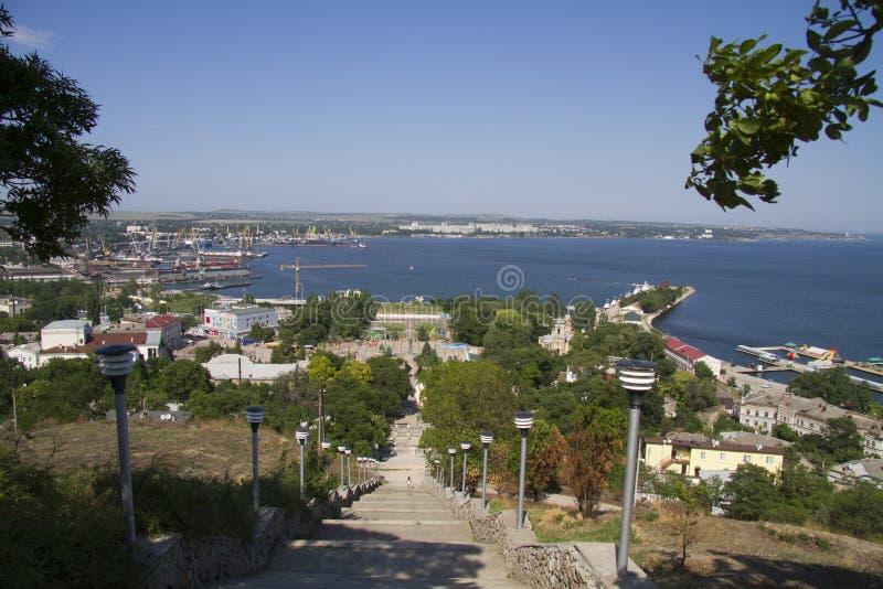Panorama van de stad van Kerch, de Krim royalty-vrije stock foto's