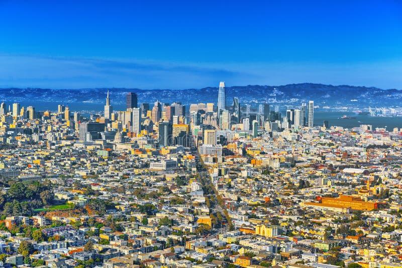 Panorama van de stad van San Francisco royalty-vrije stock fotografie