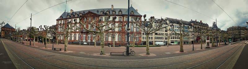 Panorama van de stad van Straatsburg voor Hotel DE Ville, de straatmening van Plaatsbroglie royalty-vrije stock afbeeldingen