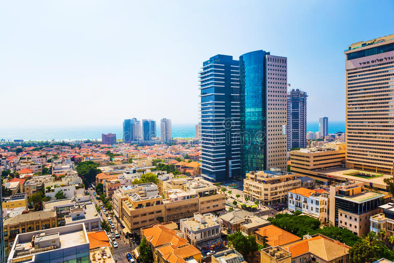 Panorama van de stad Tel Aviv stock afbeelding