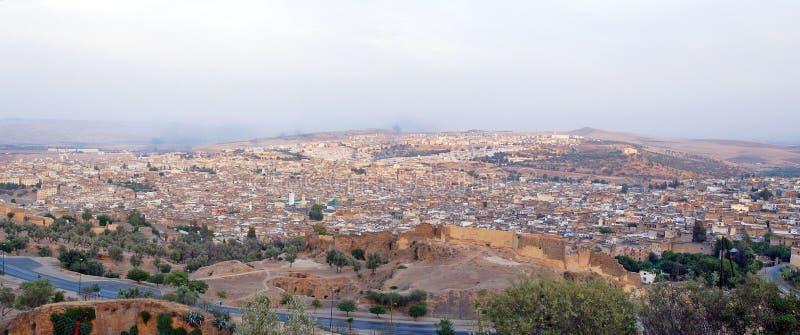 Panorama van de stad van Fes royalty-vrije stock afbeelding