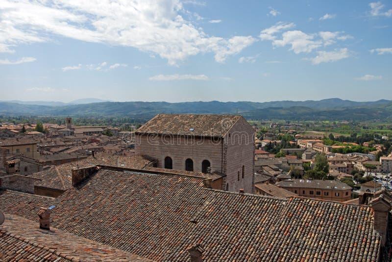 Panorama van de stad van Gubbio royalty-vrije stock foto