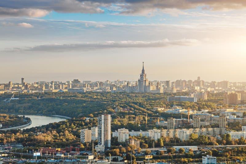 Panorama van de stad van Moskou stock afbeelding