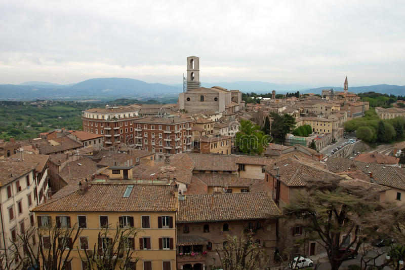 Panorama van de stad van Perugia stock foto