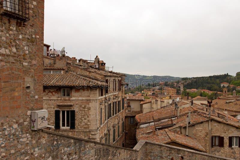 Panorama van de stad van Perugia stock afbeelding