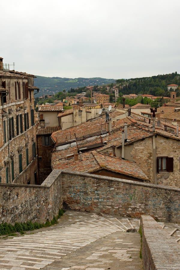 Panorama van de stad van Perugia royalty-vrije stock foto's