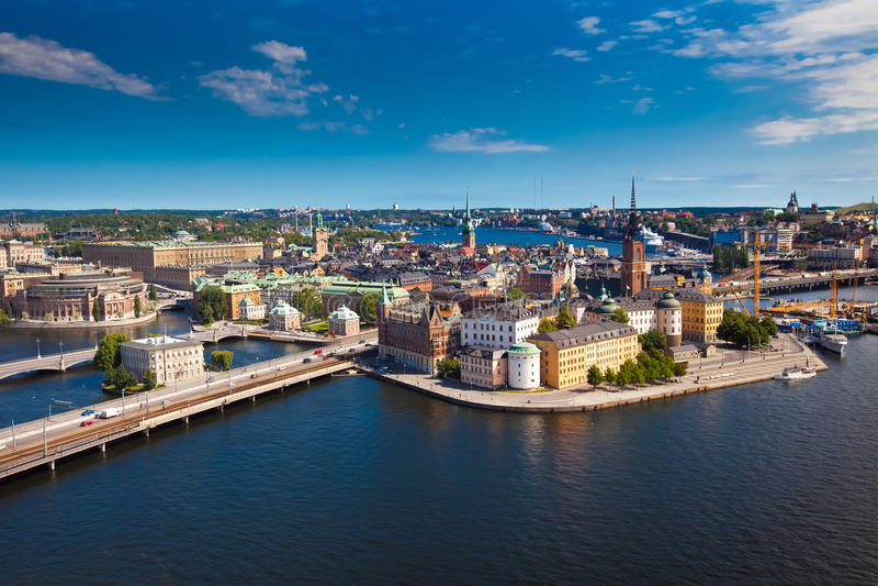Panorama van de stad van Stockholm royalty-vrije stock foto