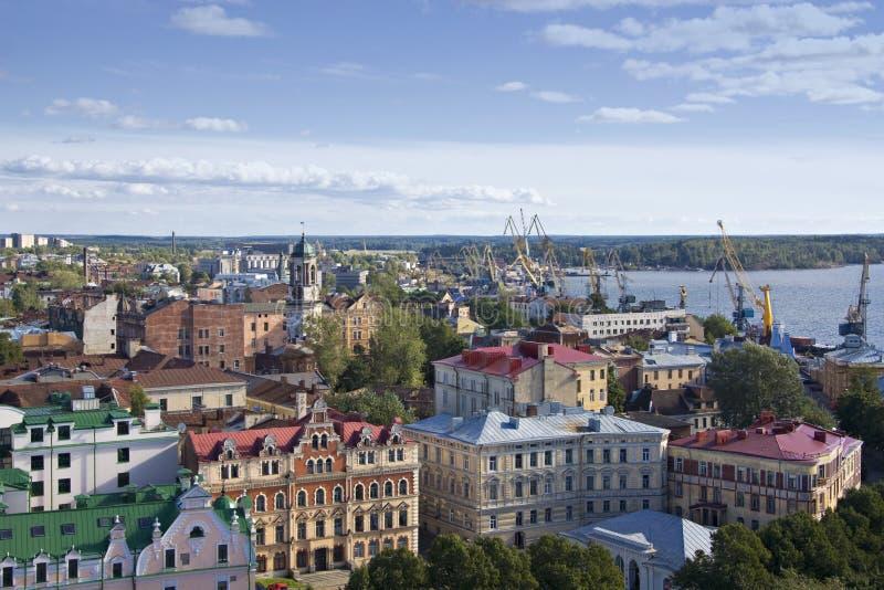 Panorama van de stad van Vyborg stock afbeeldingen