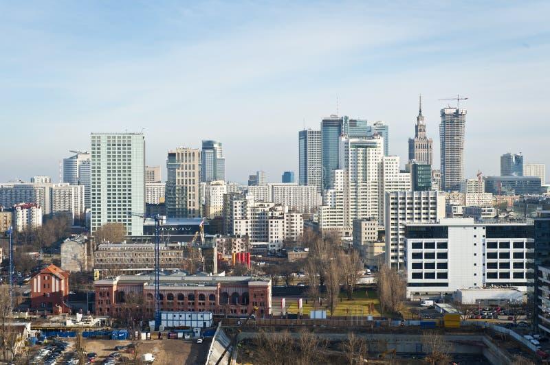 Panorama van de stad van Warshau royalty-vrije stock afbeelding