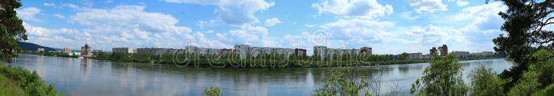 Panorama van de stad van Zelenogorsk, Krasnoyarsk-gebied stock fotografie