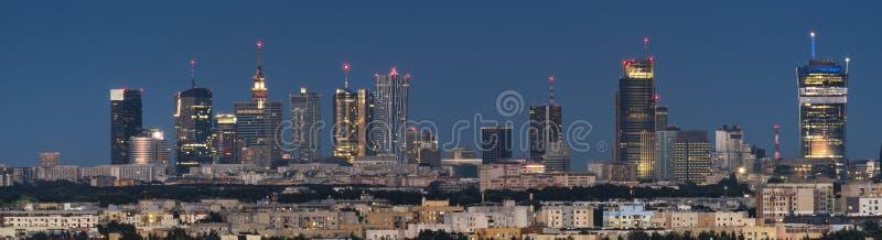 Panorama van de stad van Warshau de stad in royalty-vrije stock foto's