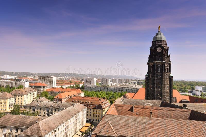 Panorama van de stadshorizon bij in Dresden, Saksen, Duitsland, Europa stock afbeelding