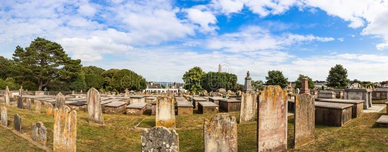Panorama van de Steengraven bij de Candie-Begraafplaats bij St Peter Port, Guernsey stock fotografie