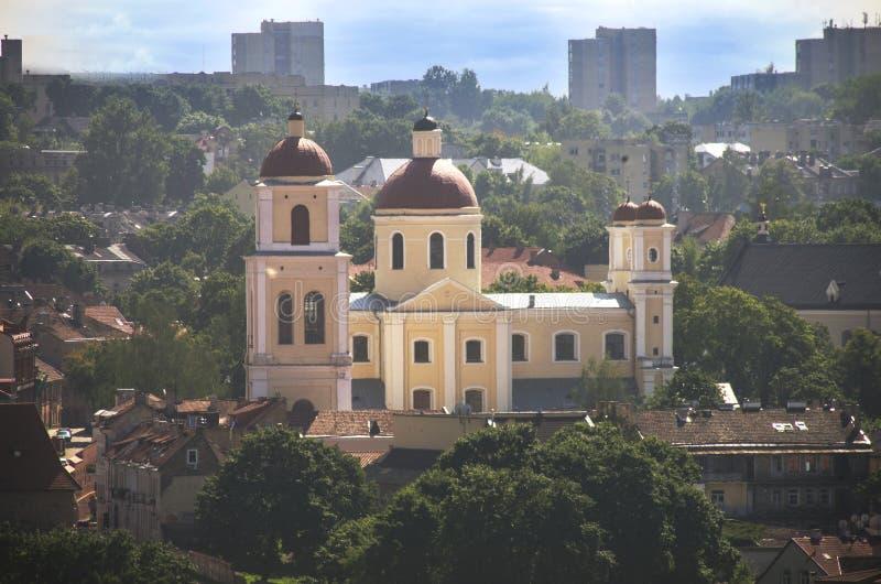 Panorama van de Vilnius het oude stad, Litouwen royalty-vrije stock afbeeldingen