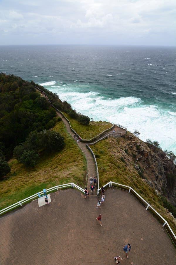 Panorama van de vuurtoren Kaap Byron Nieuw Zuid-Wales australië royalty-vrije stock fotografie