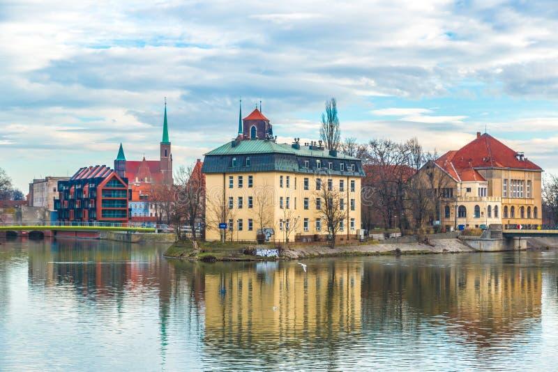 Panorama van de Wroclaw het oude stad stock fotografie