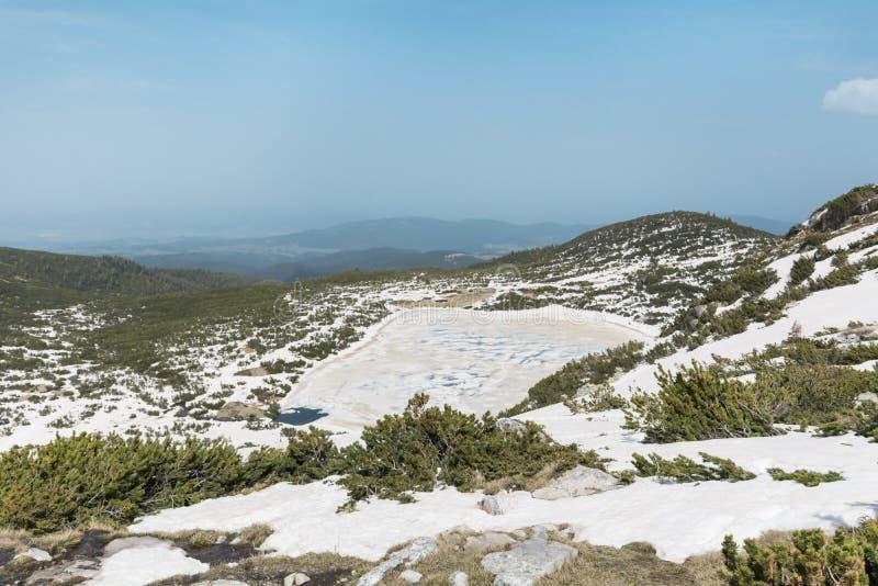 Panorama van de Zeven Rila-Meren in Rila-berg, Bulgarije royalty-vrije stock foto's