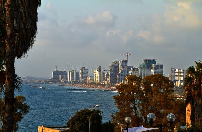 Panorama van de zomer Juli van Tel Aviv stock fotografie