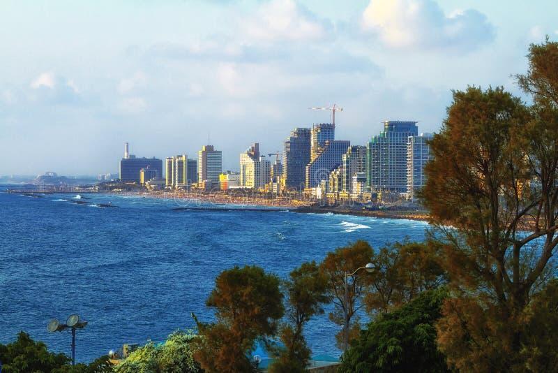 Panorama van de zomer Juli van Tel Aviv stock afbeelding
