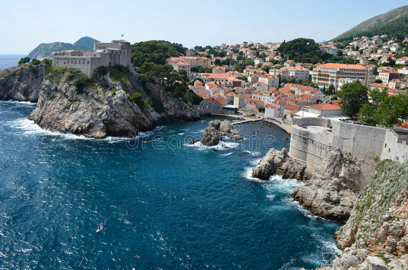 Panorama van Dubrovnik, mooie oude stad in Kroatië, Europa stock fotografie