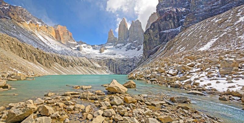 Panorama van een Alpien Meer stock afbeeldingen