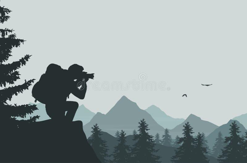 Panorama van een berglandschap met mist in een valleiverstand royalty-vrije illustratie
