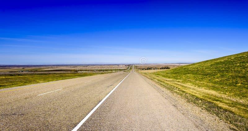 Panorama van een lange asfaltweg tussen gebieden met groen gras, stock fotografie