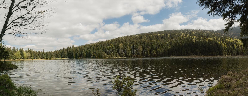 Panorama van een mooie landschapsscène in kleine Arbersee in Beieren stock fotografie