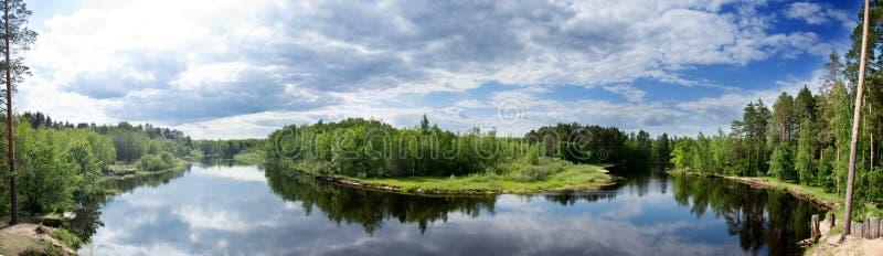 Panorama van een rivier die door een bos vloeien royalty-vrije stock afbeelding