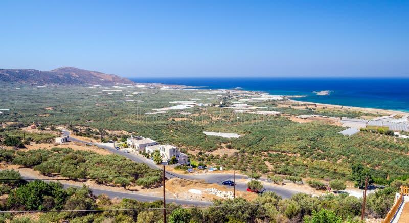 Panorama van Falasarna-Strand in Kreta, Griekenland stock foto's