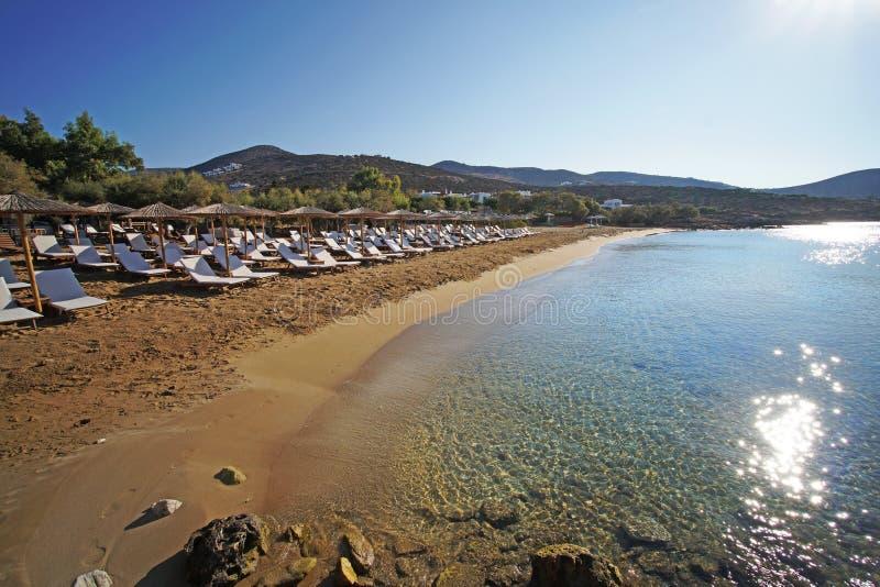 Panorama van Farangas-strand, Paros royalty-vrije stock afbeelding