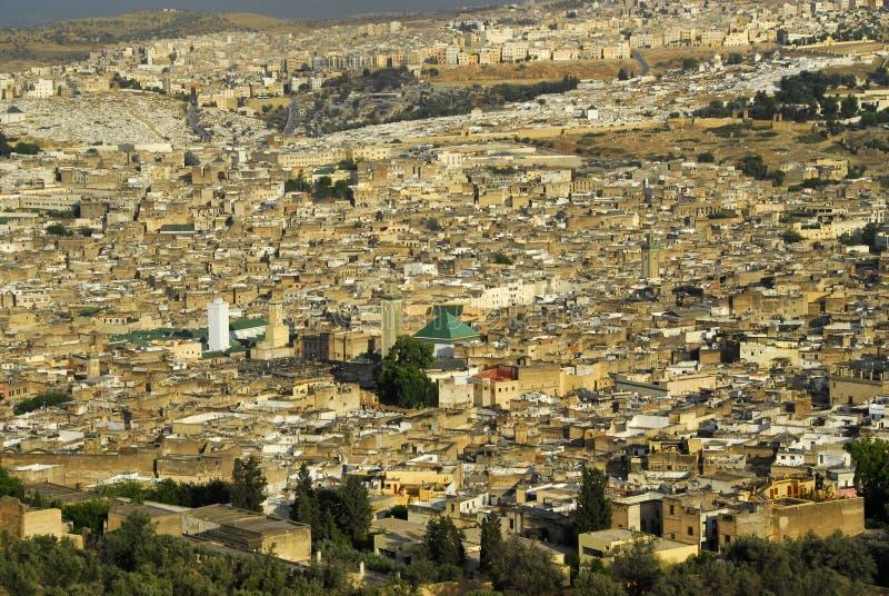 Panorama van FES, Marokko stock foto