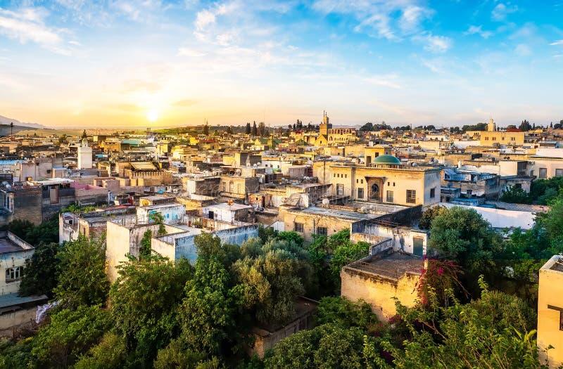 Panorama van Fes-stad stock afbeelding