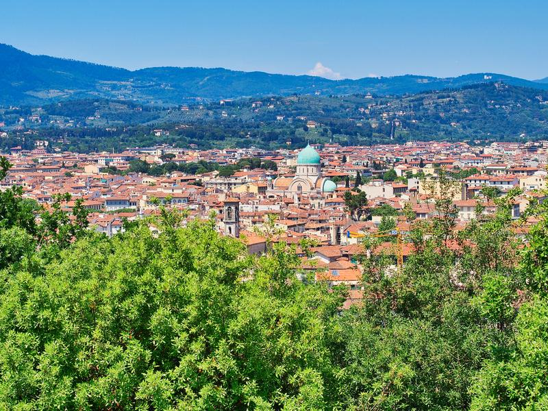 Panorama van Florence, Toscanië, Italië royalty-vrije stock afbeelding