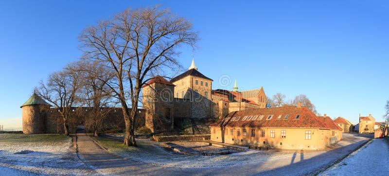 Panorama van fort in Oslo, Noorwegen stock foto's