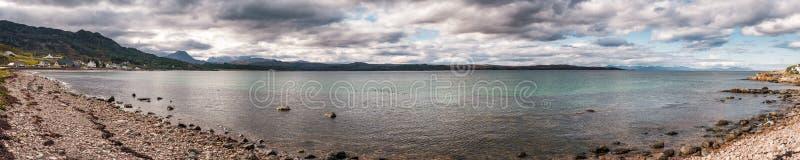 Panorama van Gairloch in Hooglanden van Schotland royalty-vrije stock afbeelding