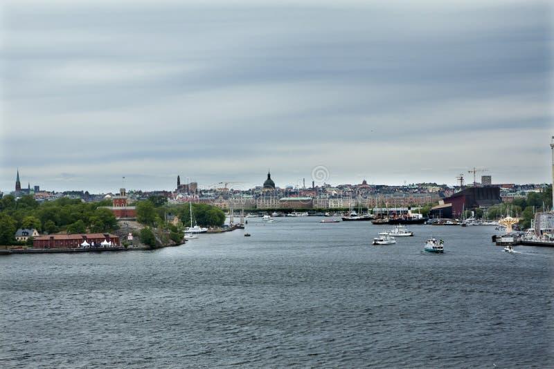 Panorama van Gamla Stan, Oude Stad in Stockholm, de hoofdstad van Zweden stock afbeelding