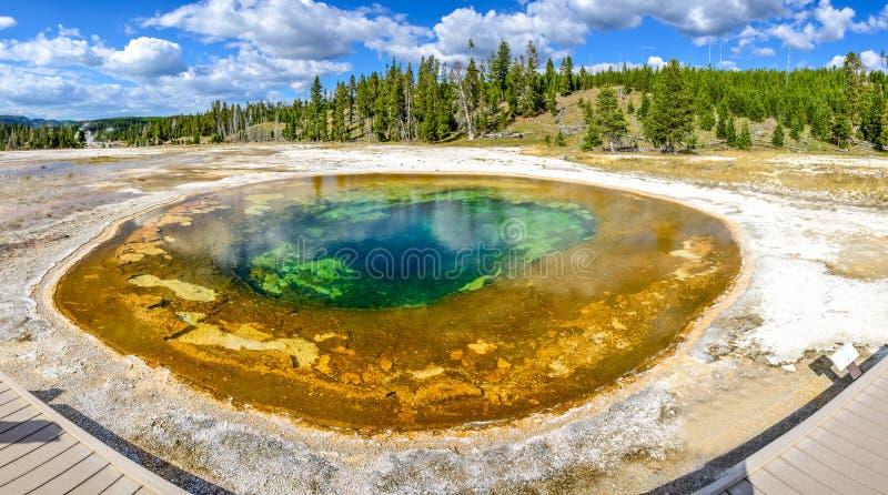 Panorama van geothermische Schoonheidspool in Yellowstone NP stock afbeeldingen