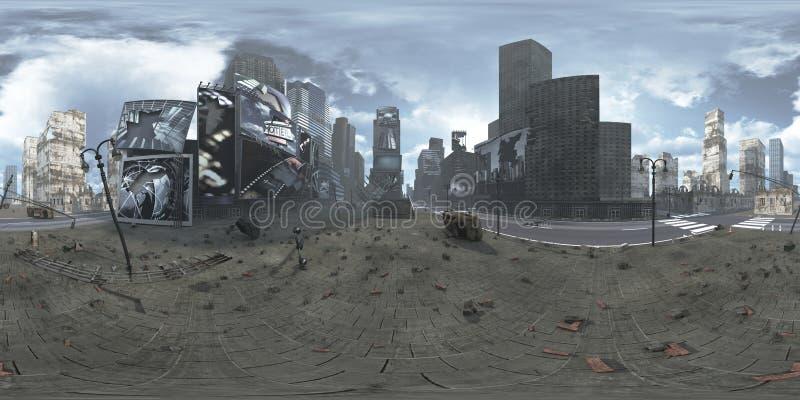 Panorama van geruïneerd Time Square New York Manhattan HDRi Equirectangular het 3d teruggeven vector illustratie