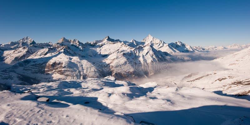 Panorama van gornergrat in de winter royalty-vrije stock foto