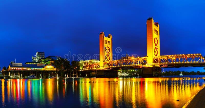 Panorama van Gouden Poortenophaalbrug in Sacramento royalty-vrije stock foto's