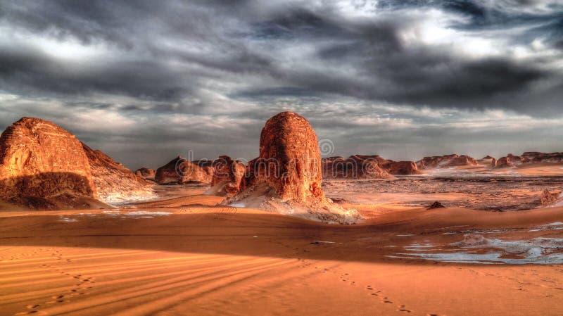 Panorama van Gr-Agabat vallei, Witte woestijn, de Sahara, Egypte stock foto's