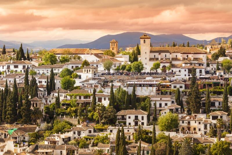 Panorama van Granada, Andalusia, Spanje stock fotografie